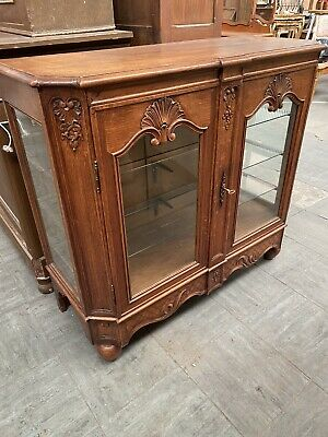 Beautiful Carved Oak French Display Cabinet Louis Style