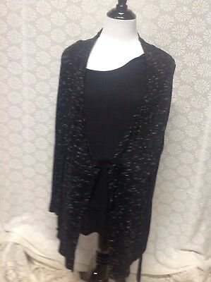 Womens Maternity Top Layered Sweater Open Wrap with Ties Two Hearts size L