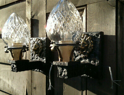 Pair Arts & Crafts Gothic Wall Sconces Hall~Porch Lights~Cut Crystal Glass c1910