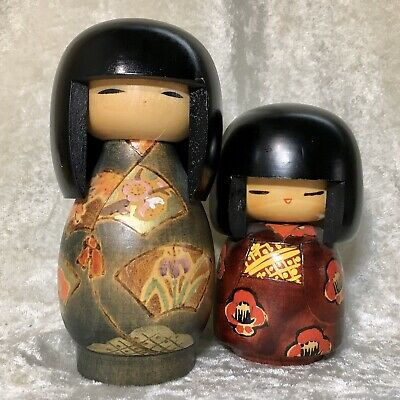2 Lot Japanese Folk Art Sosaku Kokeshi Wooden Doll Girl Signed Kunio Miyagawa