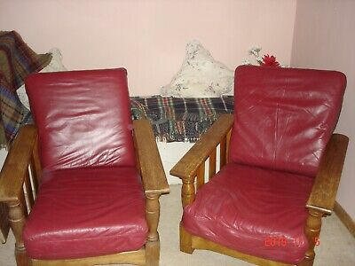 PAIR of ANTIQUE OAK CHAIRS  1920s  ( Arts and Crafts )