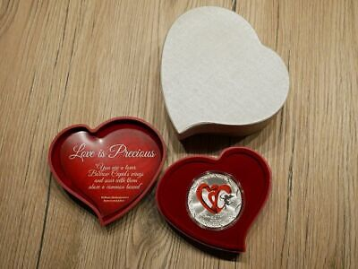 2013 2$ Love is Precious Red Hearts 1 Oz Silver Coin Valentines Gift