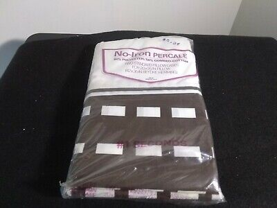2 standard vintage pillow cases no-iron percale brown and white
