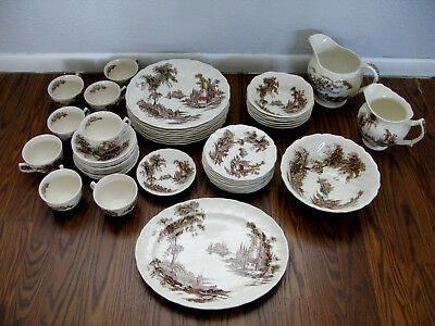 """Vintage Beautiful Johnson Bros England """"The Old Mill"""" 45 ps platter Plate Bowl"""