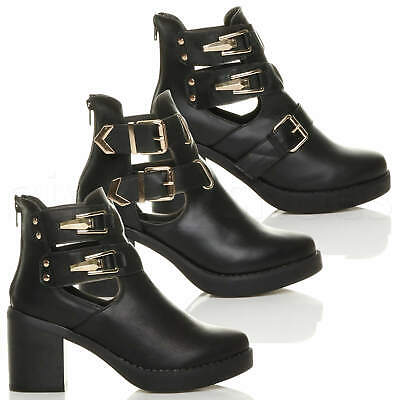Womens Ladies Mid High Block Heel Zip Cut Out Buckles Chunky Ankle Boots Size