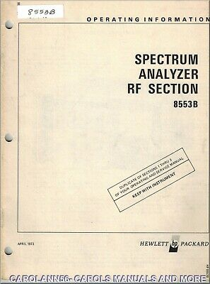 HP Manual 8553B SPECTRUM ANALYZER RF SECTION