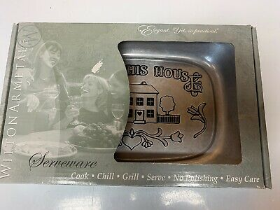 "Wilton Armetale Serveware Bless this House Pewter Serving Dish New 11""×7"""