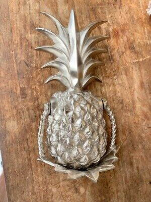large heavy PINEAPPLE Door Knocker SOLID  100 % Brass SILVER house banger B