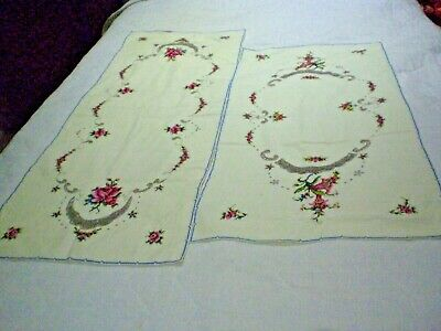 Table Runners X 2 Cross Stitch Embroidery Roses & Fuchsias Cream Cotton Vintage.