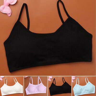 Kids Girls Comfy Non Wired Teenage Training Bra Breathable Soft Padded Underwear