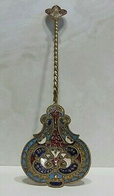 Antique French Champleve Or Russian Enamel Spoon 19th Century Cloisonne Rare