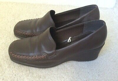 """Brazilian Comfortable Dark Brown Leather Loafer Shoes Size 5 Heel 2"""" Free P&P"""