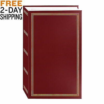 Photo Album 3 Ring Pocket Storage Case Book Holds 504 Picture Burgundy Red 4x6""