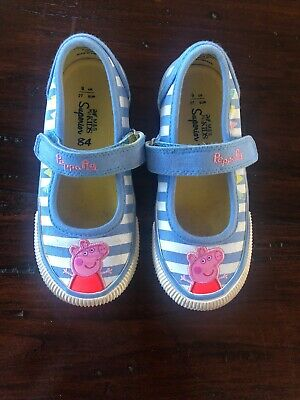 Peppa Pig Girls Blue Stripe White M&S Marks & Spencer Shoes Plimsolls Size 9 VGC