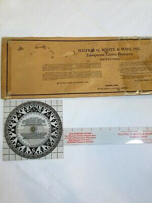 Vintage Course Protractor Wilfred O White & Sons Boston Mass