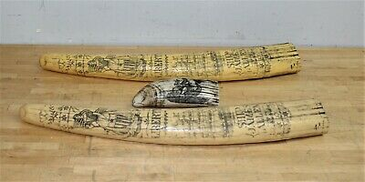 "Lot of 2 Resin Faux Scrimshaw Walrus Tusks W/ ""1830 James Allen"" & 1 Whale Tooth"