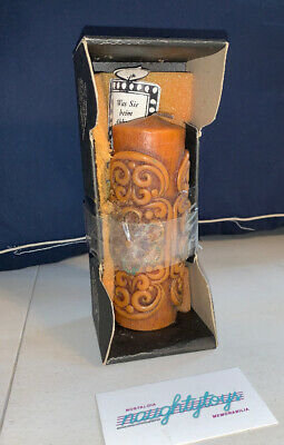 Vintage German Hand Carved Painted Candle Heavy Germany - Zierkerze *NEW IN BOX*