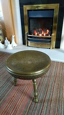 """Solid Brass Foot Stool, 11"""" high, 13"""" Diameter, Middle Eastern, Probably Turkish"""