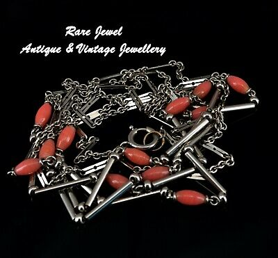 Art Deco Chrome & Glass Chain Necklace Idar-Oberstein Machine Age Long Length