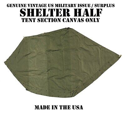 Shelter Half Vintage Us Military Issue Pup Tent Canvas Fabric Only Od Green Gc
