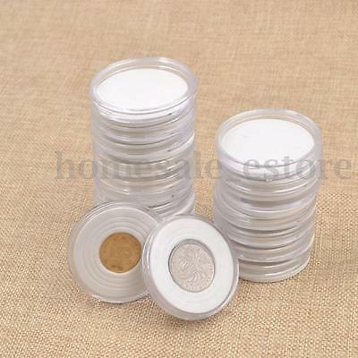 20pcs 46mm Applied Clear  Cases Coin Plastic Storage Capsules Holder  TI
