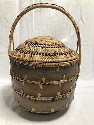 Vintage Handmade Asian Basket Bamboo/Reed Handled W/Lid~Chinese Wedding Basket