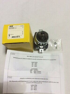 Hubbell CS8369 50A Twist-lock Receptacle 250V 3 Pole 4 Wire NEW
