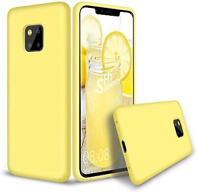 Huawei Mate 20 Pro Case Slim Liquid Silicone Gel Rubber Shockproof Case -Yellow