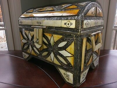 Moroccan Sandok Treasure Chest Dowry Trunk Box Geometric Inlay Camel Bone Vtg