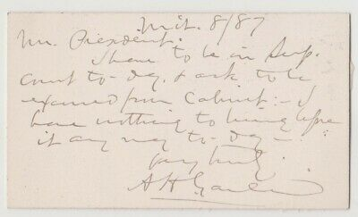 President Grover Cleveland - Private Note From Attorney General Augustus Garland