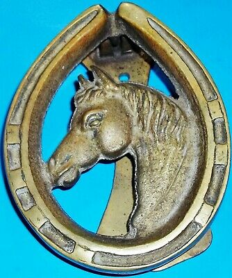 Vintage Solid Brass Horse Head & Horse Shoe Door Knocker - Made In England