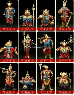 copper casting heavenly soldiers generals a set of chinese zodiac twelve animal