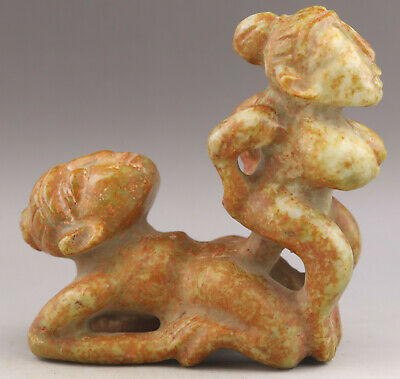 Chinese old natural jade hand-carved statue of man and woman