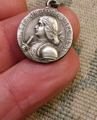 Ex Rare Antique French Sterling Silver Joan Of Arc Medal Extra Beautiful