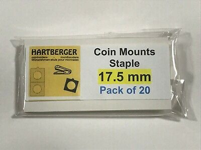 HARTBERGER BRAND 20 Staple Type 2 x 2 coin holders 17.5mm