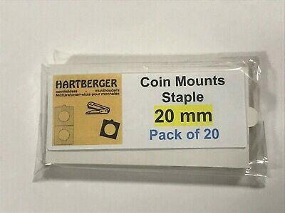 HARTBERGER BRAND 20 Staple Type 2 x 2 coin holders 20mm