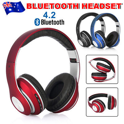 AU Wireless Bluetooth Headset Stereo Noise Cancelling Headphones Mic Foldable