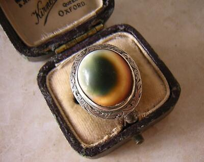ANTIQUE GEORGIAN SILVER RING with OPERCULUM SHELL STONE 1830 GREEN CAT EYE SHELL
