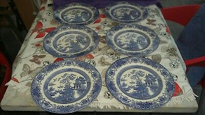 "((*6 X*)) 10""Inch English Ironstone  Blue & White  Dinner Plates"