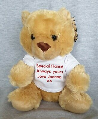 Personalised Embroidered Message Name Teddy Bear for Valentines Day 30cm high