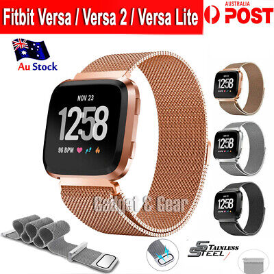 For Fitbit Versa Versa 2 Lite Band Stainless Steel Metal Milanese Loop Wristband