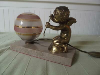 French Art Deco spelter marble winged cherub cupid angel table bedside mood lamp