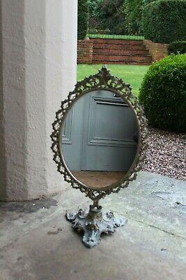 COUNTRY HOUSE SALE Antique Freestanding Gold,Gilt Brass Dressing Table Mirror