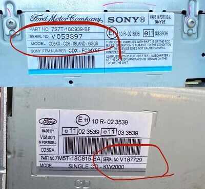 Ford M or V Serial Numbers Radio Code Unlock 6000 6006E 4500 Units