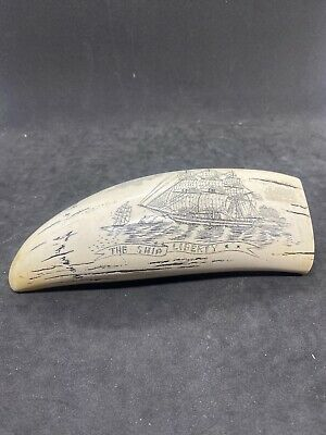 """SHIP LIBERTY"" fine details  historic Sperm whale tooth scrimshaw REPRODUCTION"