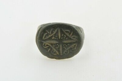 Byzantine Medieval Crusader Templar bronze ring CROSS 9-12th century AD Sz 5 1/2