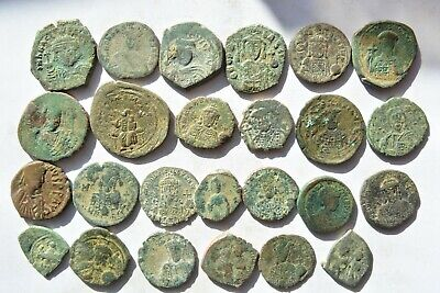 Lot 25 Byzantine bronze Follis coins FOR CLEANING 500 AD - 600 AD