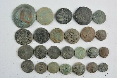 Lot 25 Greek bronze coins for cleaning 500- 100 BC