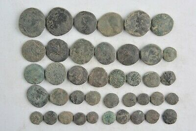 Lot 40 Greek bronze coins for cleaning 500- 100 BC
