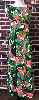 Vintage Malihini Floral Hawaiian Wedding Tiki Lua Maxi Dress multi Size 8 GC